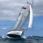 Suhaili, off Falmouth, Cornwall, UK for India's first solo circumnavigator Dilip Donde