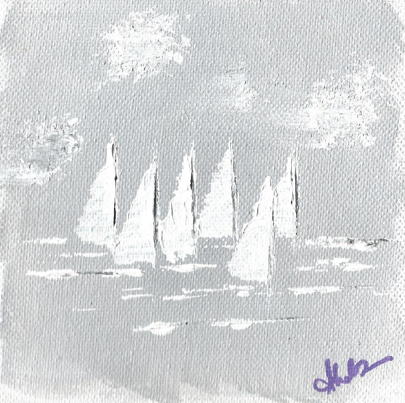 Painting of a sail boats by Sucheta Jadhav for India's first solo circumnavigator Dilip Donde