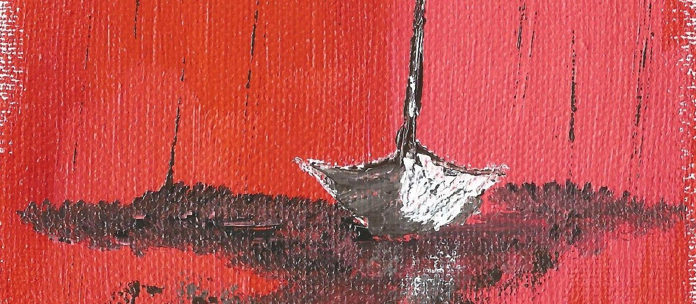 Painting of a sail boat by Sucheta Jadhav for India's first solo circumnavigator Dilip Donde