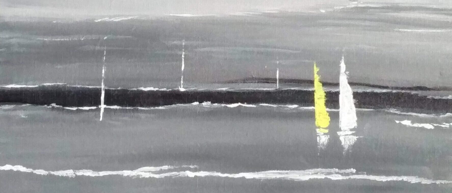 Painting of sailboats by Sucheta Jadhav for India's first solo circumnavigator Dilip Donde
