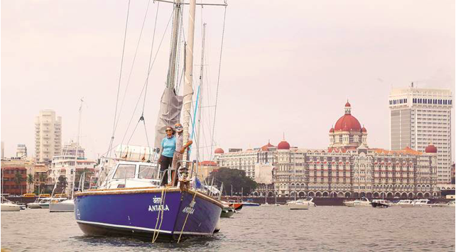 Dilip and Sucheta on Antara at Gateway of India for India's first solo circumnavigator Dilip Donde